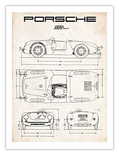 Steves Poster Store Porsche 550 Spyder Art Print Parchment Vintage Gift Diagram Drawing RS 60 356 911 UNFRAMED (5