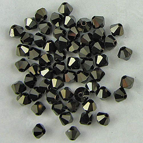 48 4mm Swarovski Crystal bicone 5301 Jet Nut 2X beads (Crystal Jet Swarovski Nut)