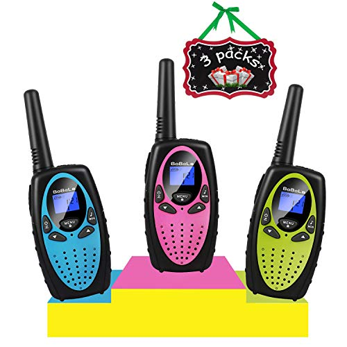 Bobela 3 Walkie Talkies for Kids and Adults, Long Range Two Way Radio Walky Talky, Fun Birthday Toys for Boys Girls, Easy Use for Cruise Ship,Traveling,Camping,Hiking