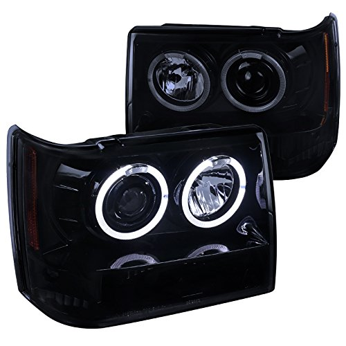 Spec-D Tuning 2LHP-GKEE93G-TM Jeep Grand Cherokee 4Dr Dual Halo Led Projector Headlights Smoked