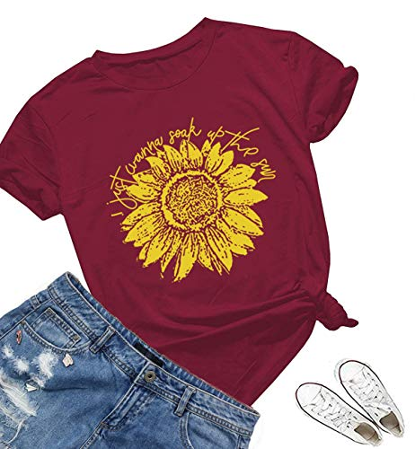 (I Just Wanna Soak Up The Sun Sunflower T Shirts Women Cute Graphic Letters Blessed Funny Kindness Beach Summer Tops Tees Wine Red)