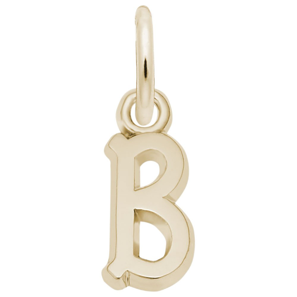 Rembrandt Charms, Mini Initial Letter B, 14k Yellow Gold