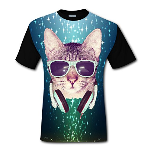 Y88 G77 Cool Cat T-shirts Tops Short Sleeve Tee Shirt Sports Cool for Men S (Christmas Light Synchronized Diy Show)