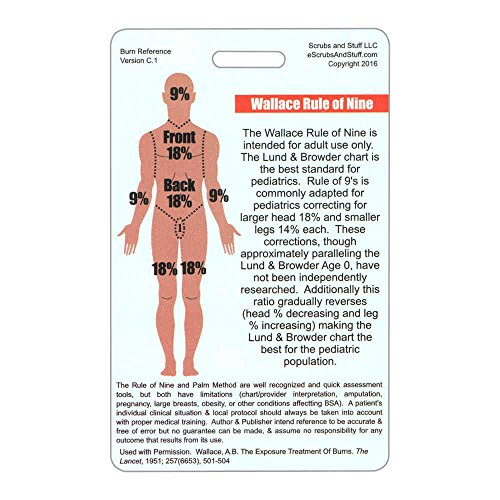rule of 9's & palm method burn chart vertical badge reference card (1 card)