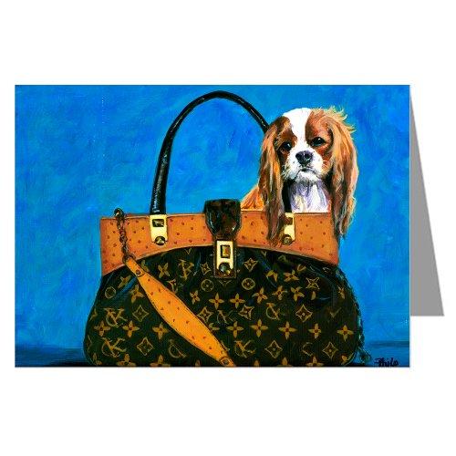 Cavalier King Charles Spaniel in Haute Coture Handbag Notecard Set