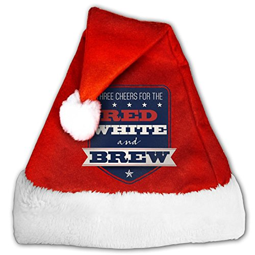 Anutknow Red White And Brew USA 4th Of July Stars Christmas Hat Xmas Party Hat Santa Hat Suit For Adults And Kids