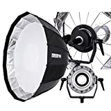Fovitec StudioPRO SPK30-002 Parabolic Softbox 47'' 16 Rods for Bowens Monolights with Mounting Arm, Black