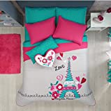 LIMITED EDITION PARIS CHIC EIFFEL TOWER FRENCH TEENS GIRLS REVERSIBLE COMFORTER SET AND SHEET SET 6 PCS TWIN SIZE