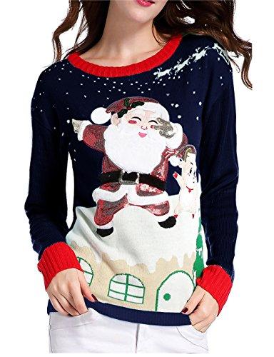 v28 Ugly Christmas Sweater, Women's Ladies Girl Xmas Lighting Santa Deer Jumper(Navy ()