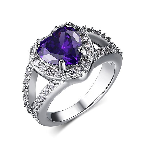 Stainless Steel Purple Heart Cubic Zirconia Crystal Engagement Ring for Women Wedding Band,Size 9