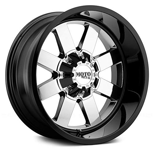 MOTO METAL MO962 PVD Center Gloss Black Lip Wheel with Chrome and Chromium (hexavalent compounds) (20 x 12. inches /8 x 125 mm, -44 mm Offset)