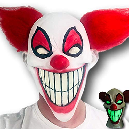 Grins the Evil Clown Mask, Rubber Johnnies, Adult, Latex, One Size, Halloween, Glow in the -