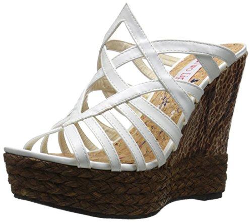 Da Sandalo Donna Con Daniella Bianco Labbra Due A Zeppa w7awF