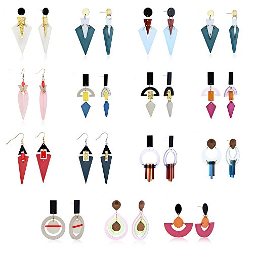 Colorful Earring,Twinsmall Zinc Alloy Geometric Acrylic Charm Triangle Dangle Stud Earring Punk Earring (15 Pair Different - Styles Different Girl Types Of