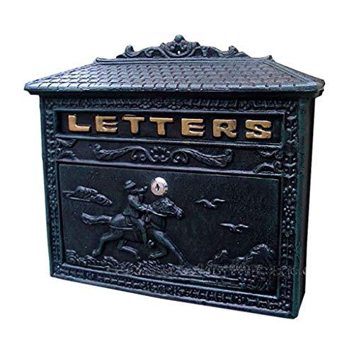 RMXMY European Garden Villa Dark Green Wall Hanging Bronze Wrought Iron Letter Box Cast Iron Crafts High-end Antique Letter Box