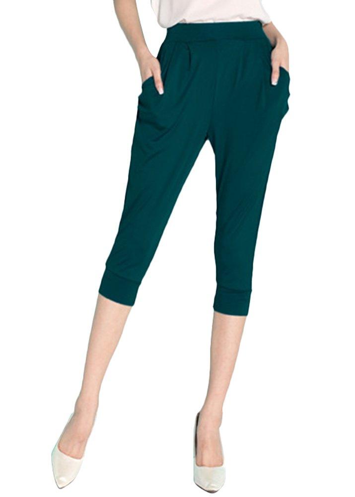 Smibra Womens Plus Size Milk Silk Elastic Waist Solid Capri Harem Pants with Pockets