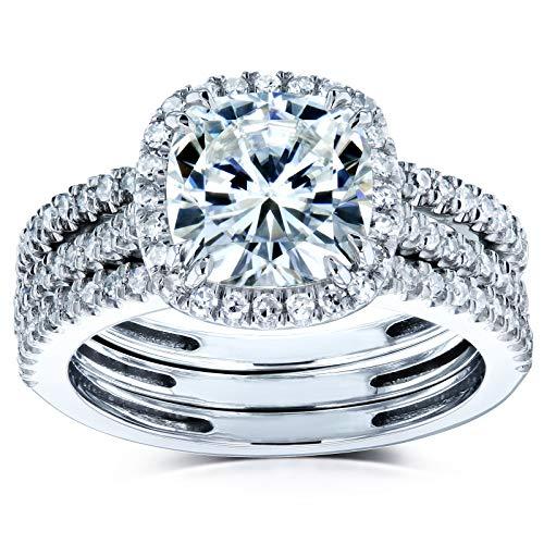 Cushion Brilliant Moissanite Halo Bridal Wedding Rings Set 2 1/2 CTW 14k White Gold (FG/VS, GH/I), 5