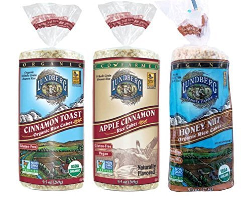 Lundberg Gluten-Free Non-GMO Rice Cakes 3 Flavor Variety Bundle: (1) Vegan Apple Cinnamon, (1) Allergen-Free Organic Honey Nut, and (1) Organic Cinnamon Toast, 9.5-9.6 Oz. Ea. (3 Total) (Cinnamon Organic Honey)
