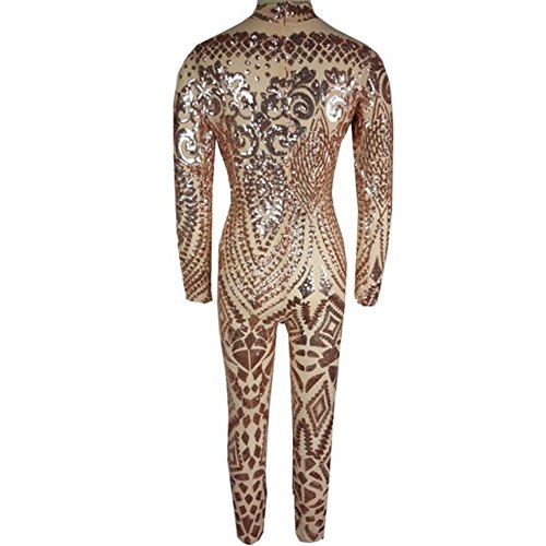 VIVOSKY Women Sequin Jumpsuits Geometric Tattoo Bodycon Club Rompers Bodysuit