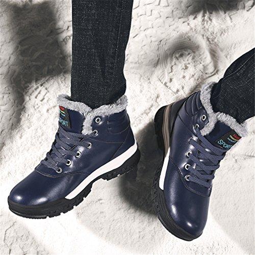 de Sport Plein en Garder Talon Femme Bleu Chaussures Hiver Chaud au Bottillons Neige Boots UBFEN Synthétique Homme Air Bottes Fourrure B Plat Pour 8HpUx