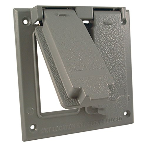Hubbell-Bell 5145-0 Weatherproof Cover 4-1/2 in L X 4-9/16 in W, Gray, Die-Cast