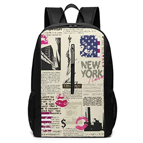 Backpack United States Newspaper Lipstick Vintage Laptop Backpack Waterproof Casual Daypack Multi-Function Bookbags Travel School Bag for Women Men Teens College Bags