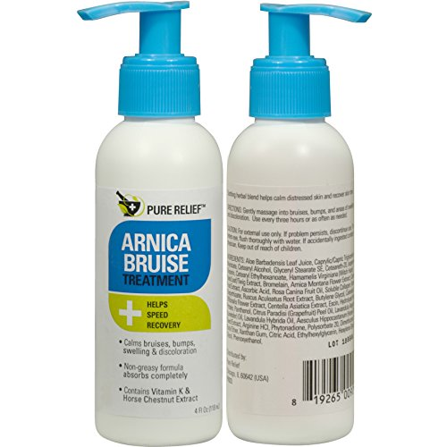 Pure Relief Arnica Bruise Lotion. Rapid relief For Bruising, Redness, And Discoloration. Powerful Bruise Lotion with Soothing Ingredients- Aloe Vera, Vitamin K, Collagen, and Gotu Kola. 4oz.