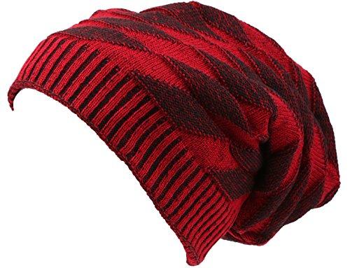 - Sakkas 16147 - Zaye Long Tall Slouchy Diamond Patterned Knit Faux Fur Lined Beanie Hat - Red/Black - OS
