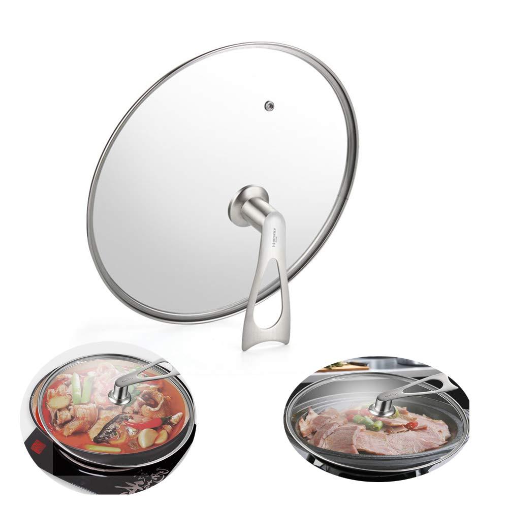 tapa de cristal endurecido tapa redonda para sartenes 28 cm Tapa de cristal para wok de acero inoxidable protecci/ón contra salpicaduras