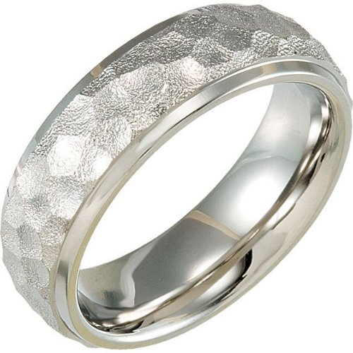 7 mm Titanium Hammered Dome Comfort Fit Band Size 11.5 by The Men's Jewelry Store