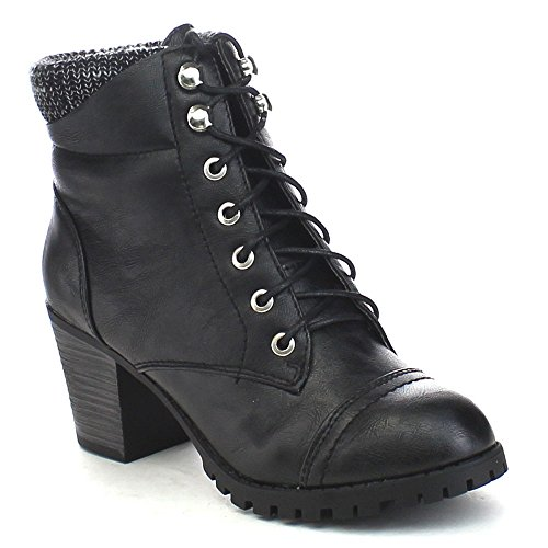 Bamboo Baxter-10L Womens Knitting Top Front Lace Up Combat Style Ankle Boots Black P5BvMh