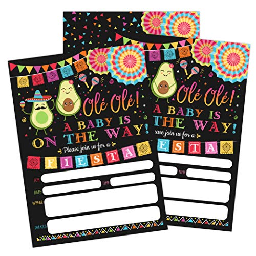 Fiesta Baby Shower Invitation, Taco Baby Shower, Taco Bout A Baby Shower Invite, Gender Reveal Fiesta Invitation, 20 Fill in Invitations and - Mexican Invitations Fiesta Party