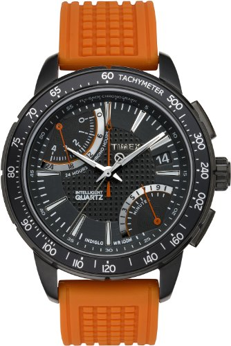 c794ca099be5 Timex Intelligent Quartz Men s Sport Flyback Chronograph Watch with Black  Dial Chronograph Display and Orange Silicone