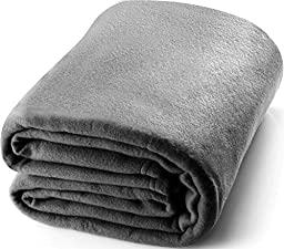 Queen Polar-Fleece Thermal Blanket Grey - Extra Soft Brush Fabric, Super Warm Bed Blanket, Lightweight Couch Blanket, Easy Care - by Utopia Bedding
