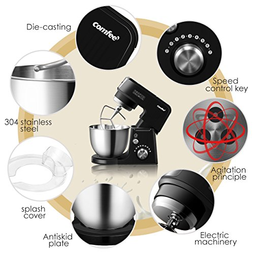 Comfee 2.6Qt Die Cast 7-in-1 Multi Function Tilt-Head Stand Mixer with SUS Mixing Bowl, Whisk, Hook, Beater, Splash Guard.4 Outlets, 7 Speeds & Pulse, 15 Minutes Timer Planetary Mixer (Black) by Comfee (Image #2)