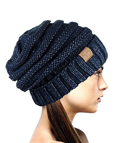 Navy Blue Slouch Hat - NYFASHION101 Exclusive Oversized Baggy Slouchy Thick Winter Beanie Hat - Navy Metallic