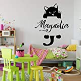 Personalized Cat Name Wall Decal - Hanging Kitty Silhouette Vinyl Sticker for Kid's Bedroom, Playroom, Baby Nursery, or School Classroom