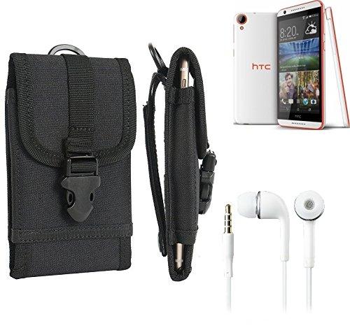 bolsa del cinturón / funda para HTC Desire 820, negro + Auriculares | caja del teléfono cubierta protectora bolso - K-S-Trade (TM)