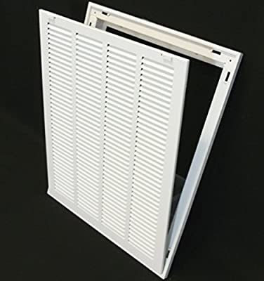 """16"""" X 20 Steel Return Air Filter Grille for 1"""" Filter - Removable Face/Door - HVAC DUCT COVER - Flat Stamped Face - White [Outer Dimensions: 18.5""""w X 22.5""""h]"""