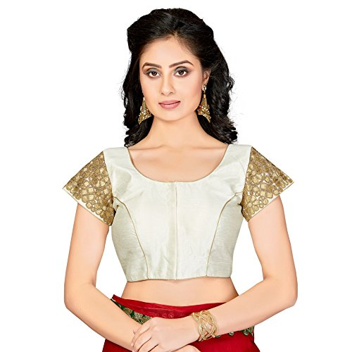 (TrendyFashionMall Readymade Silk Blouse With Gold Patch Work Cream-Med(40))