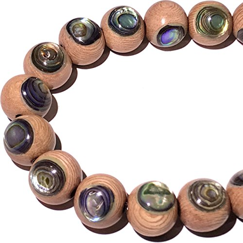 [ABCgems] Rare Rosewood Hardwood AKA Toog Tree (New Zealand Abalone Front & Back Inlaid) 10mm Smooth Round (Approx 22-24 Focal Beads Wholesale ()