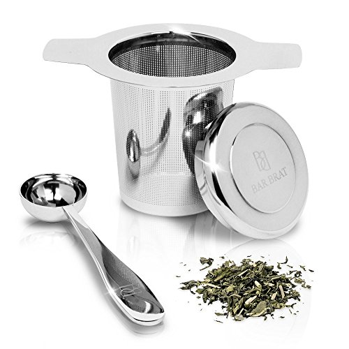 Tea Infuser Strainer + Spoon by Bar Brat ™ / Premium Micro Filter Stainless Steel Steeper / 130 Cocktail Shaker Ebook Included (Striped Blue White And Coffee Mugs)