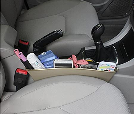 Elandy 2PCS Car Pocket Organizer Car Catcher-Car Cracks Slit Storage Boxes CD Cellphone Sundries Organizer Grey