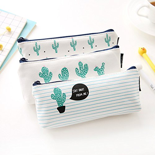 (NJPOWER Brief Style Green Cactus Canvas Large Capacity Pencil Bag Stationery Storage Organizer Case School Supply)