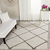 Safavieh Hudson Shag Collection SGH281D Ivory and Beige Moroccan Diamond Trellis Area Rug (8' x 10')