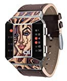 01TheOne Unisex SC117R1 Split Screen Art Edition Red LED Brown Leather Watch, Watch Central
