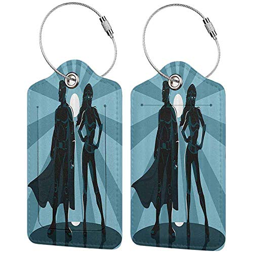 Printed luggage tag Superhero Man and Woman