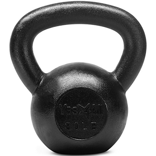 Yes4All Solid Cast Iron Kettlebell Weights Set , Great for Full Body Workout and Strength Training, Kettlebell 30 lbs (Black)