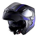 #10: 1Storm Motorcycle Modular Full Face Helmet Flip up Dual Visor Sun Shield: HB89 Arrow Blue