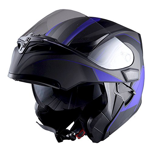 1Storm Motorcycle Modular Full Face Helmet Flip up Dual Visor Sun Shield: HB89 Arrow - Motorcycle Modular Helmet Blue